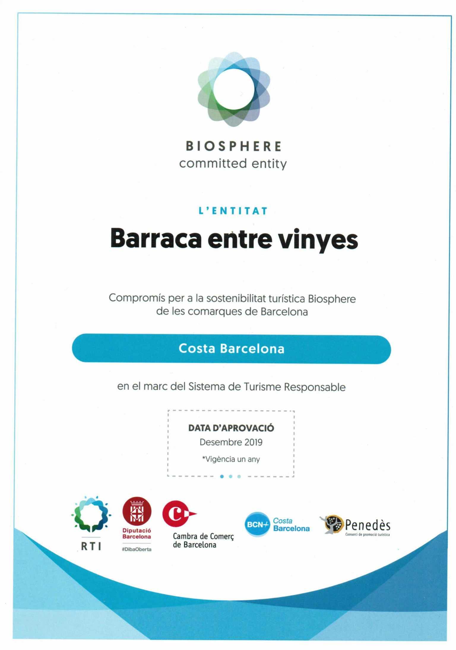 Diploma Biosphere Barraca entre Vinyes